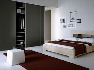 Komandor - Wnętrza z charakterem DormitoriosCamas y cabeceros Aglomerado Negro