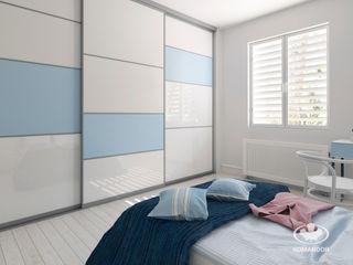 Komandor - Wnętrza z charakterem Dormitorios de estilo escandinavo Vidrio Azul