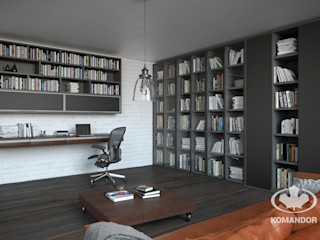 Komandor - Wnętrza z charakterem Salones de estilo industrial Vidrio Negro