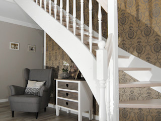 STREGER Massivholztreppen GmbH Classic style corridor, hallway and stairs Wood White