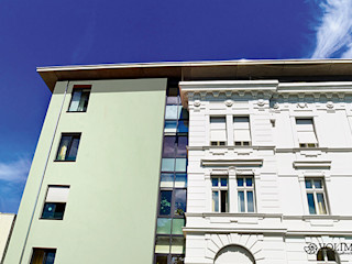 Fassadenputz bietet nahezu unbegrenzte Gestaltungsmöglichkeiten in Farbe, Struktur und Form Volimea GmbH & Cie KG Ausgefallene Häuser Grün