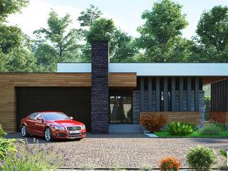 Проект современного одноэтажного дома с гаражем Sboev3_Architect Дома в стиле минимализм Кирпичи