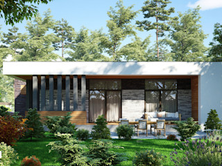 Проект современного одноэтажного дома с гаражем Sboev3_Architect Дома в стиле минимализм Дерево