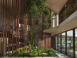 CARCO Arquitectura y Construccion 現代風玄關、走廊與階梯 實木 Beige