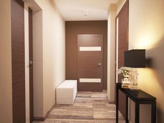 Мастерская интерьера Юлии Шевелевой Minimalist corridor, hallway & stairs