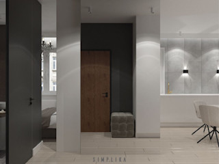 SIMPLIKA Pasillos, vestíbulos y escaleras de estilo minimalista Azulejos Gris