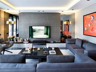 ISTINYE HOUSE Esra Kazmirci Mimarlik Modern living room Grey