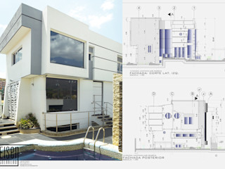 VIVIENDA UNIFAMILIAR DIVIDIVI EISEN Arquitectura + Construccion Casas de estilo escandinavo Concreto Blanco