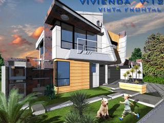 Vivienda unifamiliar V12. EISEN Arquitectura + Construccion Casas de estilo escandinavo Concreto Blanco