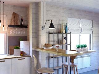Дом из бруса. Гостиная Elena Arsentyeva Столовая комната в скандинавском стиле Дерево Бежевый