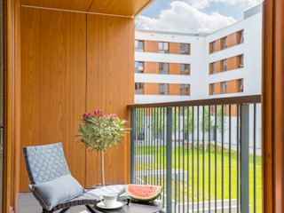 Pracownia Architektury Wnętrz Decoroom Balcon, Veranda & Terrasse scandinaves