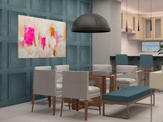 CONTRASTE INTERIOR Eclectic style dining room Blue