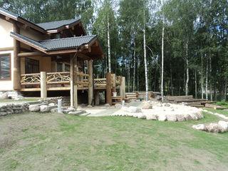 Бревечатый каркасный дом Техно-сруб Дома в стиле кантри Дерево
