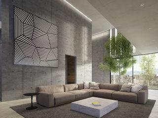 CASA A145 HAC Arquitectura Salones modernos Concreto