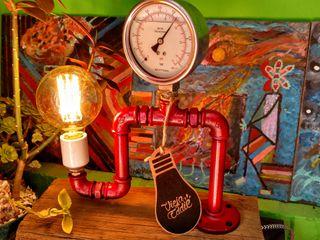 Lámpara Estilo Industrial Madera Manómetro Vieja Eddie Lamparas Vintage Vieja Eddie Paisajismo de interiores Hierro/Acero Rojo