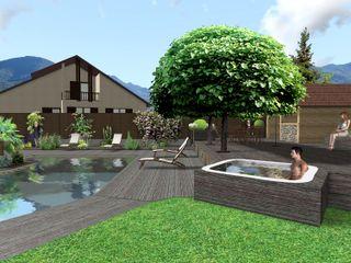Jardin de bois Anthemis Bureau d'Etude Paysage Spa moderne