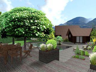 Jardin de bois Anthemis Bureau d'Etude Paysage Balcon, Veranda & Terrasse modernes