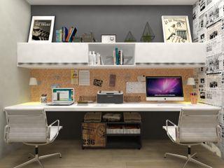 Atelie 3 Arquitetura Skandynawskie domowe biuro i gabinet