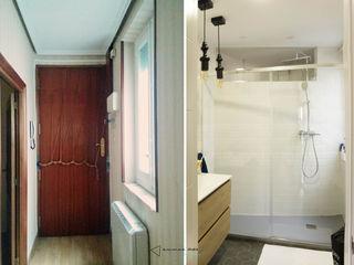 emmme studio Salle de bain scandinave Tuiles Blanc