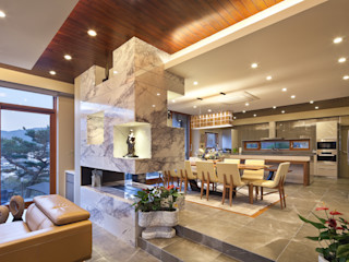 (주)건축사사무소 모도건축 Ruang Makan Modern Marmer Grey