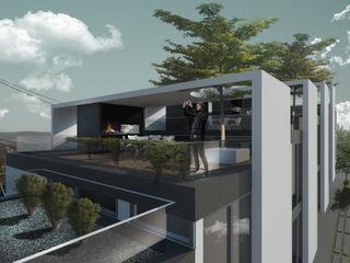 Proa Arquitectura Moderne balkons, veranda's en terrassen Beton Wit