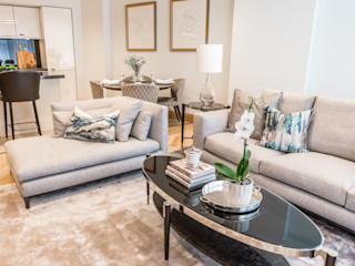 Abell House, Westminster, London Hampstead Design Hub Modern living room Grey