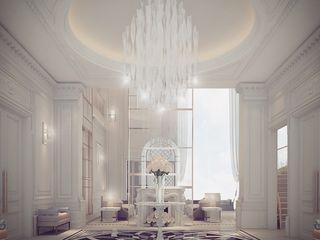 Les Français Lobby Interior Design IONS DESIGN Classic corridor, hallway & stairs Marble Black