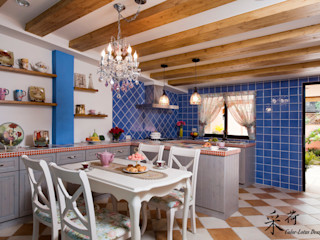 西班牙鄉村風格-透天別墅 Color-Lotus Design 廚房 實木 Grey