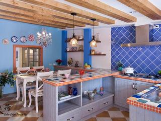 西班牙鄉村風格-透天別墅 Color-Lotus Design 廚房收納櫃與書櫃 磁磚 Blue