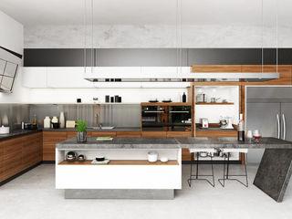 Juxta Interior Tropical style kitchen Grey