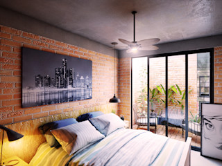 GRUPO ESCALA ARQUITECTOS Modern Bedroom Bricks