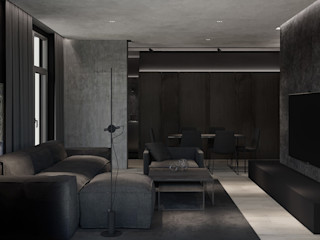 MENTAL ARC DESIGN Salones de estilo moderno Madera Negro