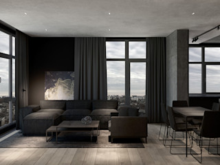 MENTAL ARC DESIGN Salones de estilo moderno Compuestos de madera y plástico Marrón