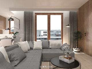 SIMPLIKA Salones de estilo moderno Gris
