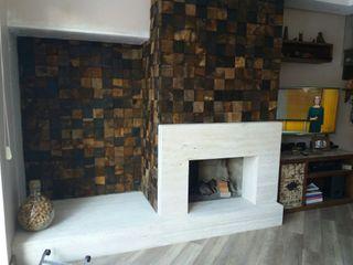 Rebello Pedras Decorativas Salones de estilo moderno Piedra Acabado en madera
