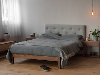 Buttoned Headboard Beds Natural Bed Company BedroomBeds & headboards Grey