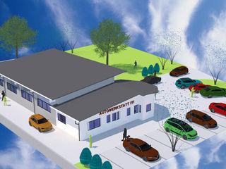 Neubau einer Autowerkstatt mit Waschhalle & Büro | Projekt FF a r c h i t e k t u r b ü r o grimm Moderne Autohäuser