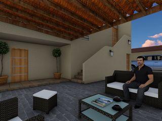 OmaHaus Arquitectos Balkon, Beranda & Teras Gaya Rustic