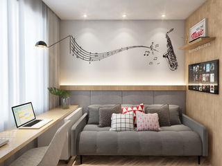 Marilia Zimmermann Arquitetura e Interiores Modern study/office Grey