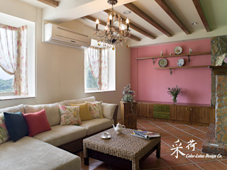 雙溪山居-鄉村風格 Color-Lotus Design 客廳 磁磚 Pink