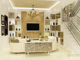 Wisata Bukit Mas, Surabaya PEKA INTERIOR Ruang Keluarga Modern Kaca Beige