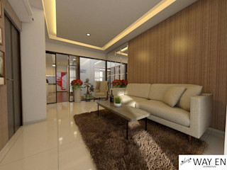 Interior W House di Cibinong, Kab. Bogor Way En Architecture Living roomSofas & armchairs Kayu Lapis Beige