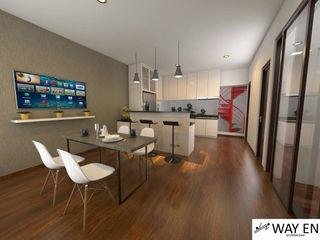 Interior W House di Cibinong, Kab. Bogor Way En Architecture Dining roomTables Kayu Lapis Wood effect