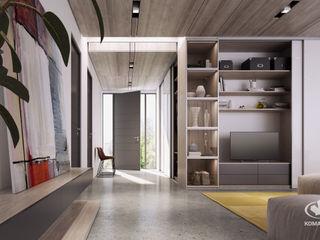 Komandor - Wnętrza z charakterem Salones de estilo moderno Aglomerado Beige