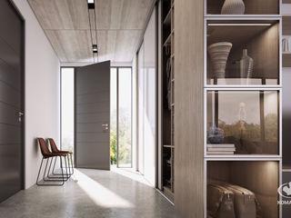 Komandor - Wnętrza z charakterem Modern corridor, hallway & stairs Glass White