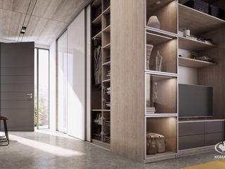 Komandor - Wnętrza z charakterem Pasillos, vestíbulos y escaleras de estilo moderno Aglomerado Beige