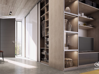 Komandor - Wnętrza z charakterem Modern corridor, hallway & stairs Chipboard Beige