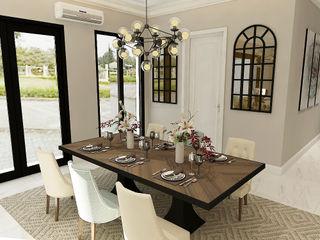 American modern residence Kottagaris interior design consultant Ruang Makan Gaya Kolonial