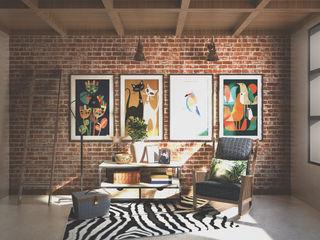 Veon Interior Studio Rustic style media rooms Bricks Multicolored