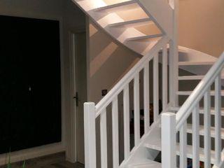 Transformation pièce de vie, cuisine avec verrière L'Armoire aux Patines Couloir, entrée, escaliersEscaliers